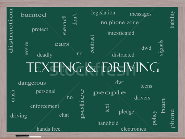 Texting and Driving Word Cloud Concept on a Blackboard Stock photo © mybaitshop