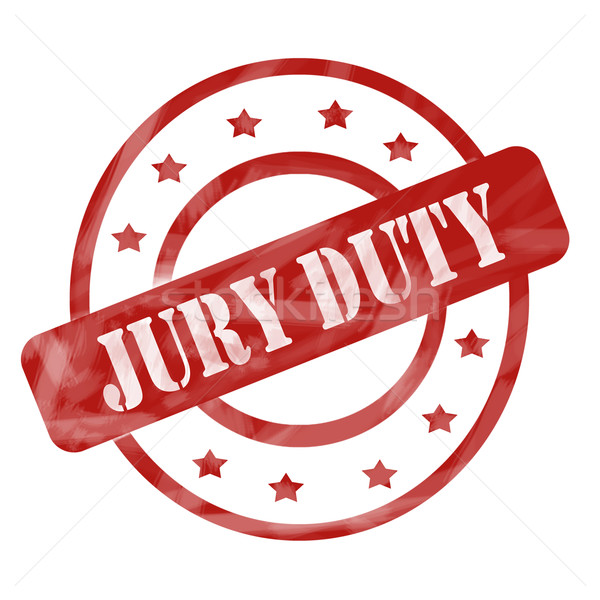 Red Weathered Jury Duty Stamp Circles and Stars Stock photo © mybaitshop