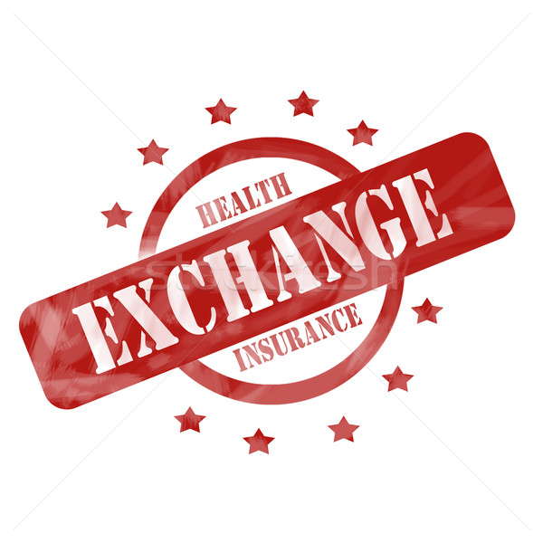 Red Weathered Health Insurance Exchange Stamp Circle and Stars design Stock photo © mybaitshop