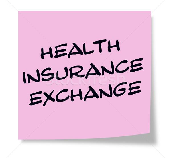 Stock fotó: Egészségbiztosítás · csere · írott · rózsaszín · öntapadó · jegyzet · készít