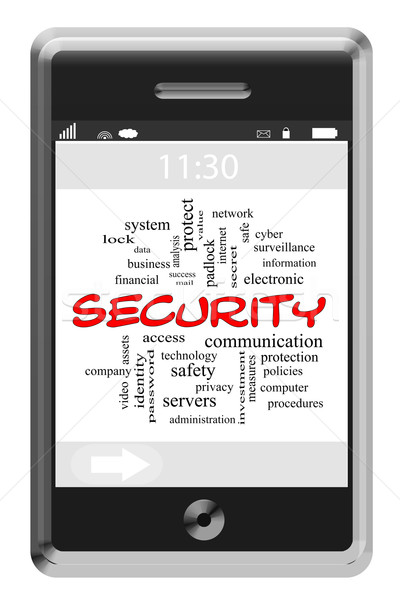 Security Word Cloud Concept on a Touchscreen Phone Stock photo © mybaitshop