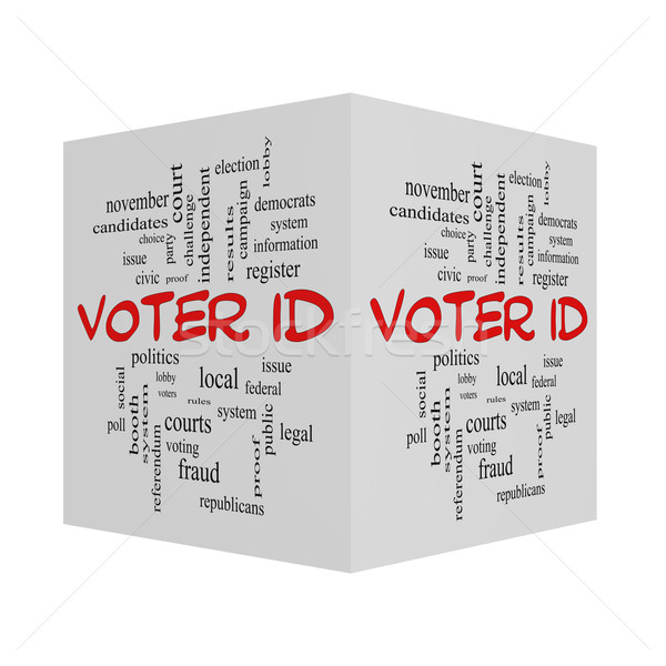 Voter ID Word 3D Cloud Concept in red caps Stock photo © mybaitshop