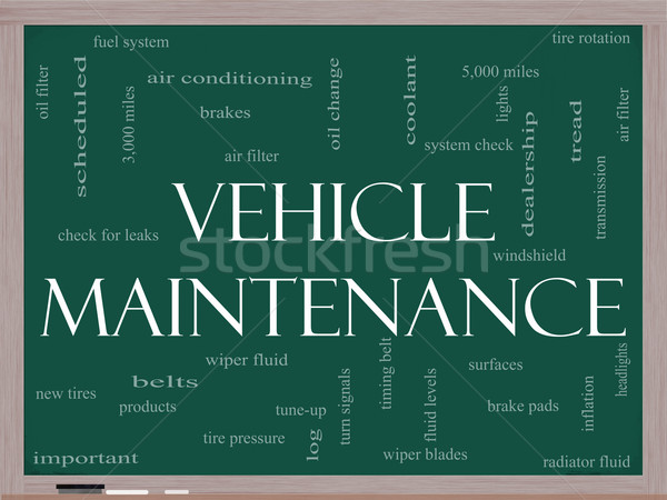 Vehicle Maintenance Word Cloud Concept on a Blackboard Stock photo © mybaitshop