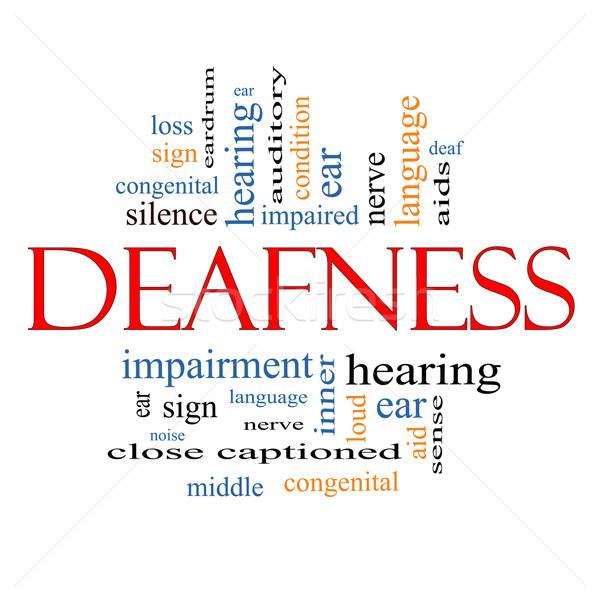 Chmura słowo nerw głuchy ucha pomoc Zdjęcia stock © mybaitshop