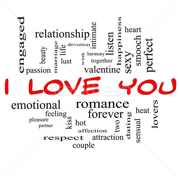 Zdjęcia stock: Miłości · chmura · słowo · czerwony · walentynki · lovers