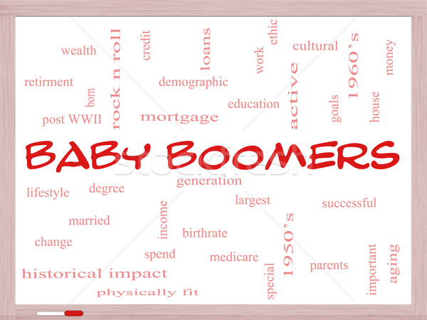 Baby Boomers Word Cloud Concept on a Whiteboard Stock photo © mybaitshop