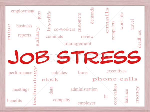 Job Stress Word Cloud Concept on a Whiteboard Stock photo © mybaitshop
