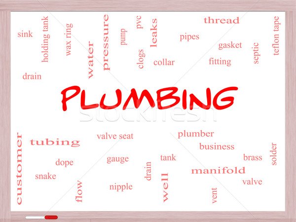 Plumbing Word Cloud Concept on a Whiteboard Stock photo © mybaitshop