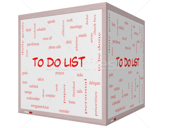 To Do List Word Cloud Concept on a 3D cube Whiteboard Stock photo © mybaitshop