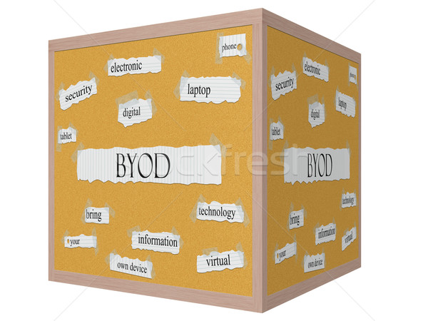 BYOD 3D cube Corkboard Word Concept Stock photo © mybaitshop