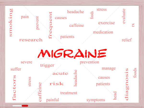 Migraine Word Cloud Concept on a Whiteboard Stock photo © mybaitshop