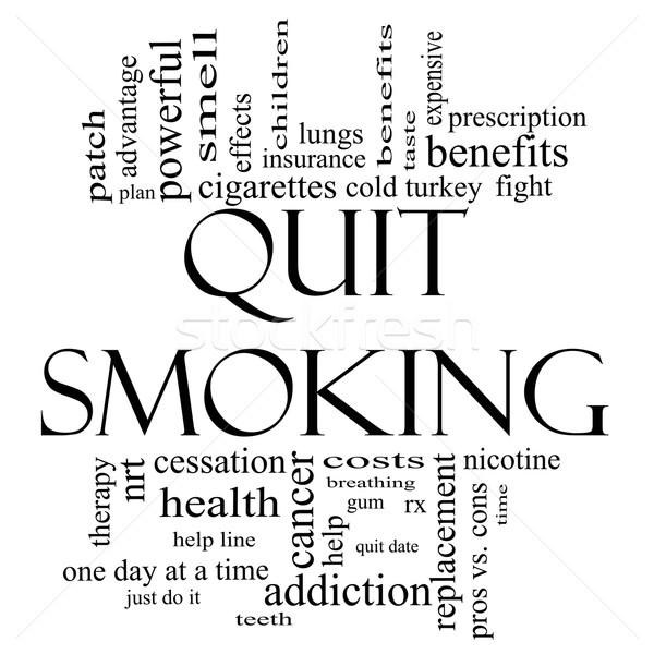 Quit Smoking Word Cloud Concept in black and white Stock photo © mybaitshop