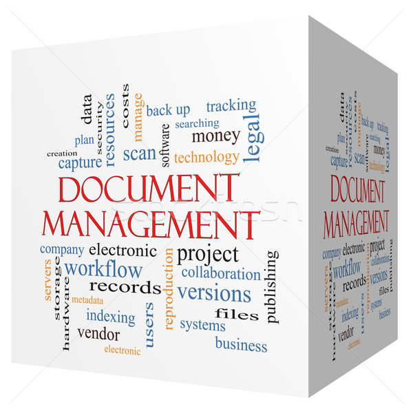 Document Management 3D cube Word Cloud Concept Stock photo © mybaitshop