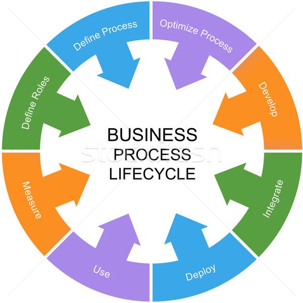 бизнеса процесс Жизненный цикл слово круга Сток-фото © mybaitshop