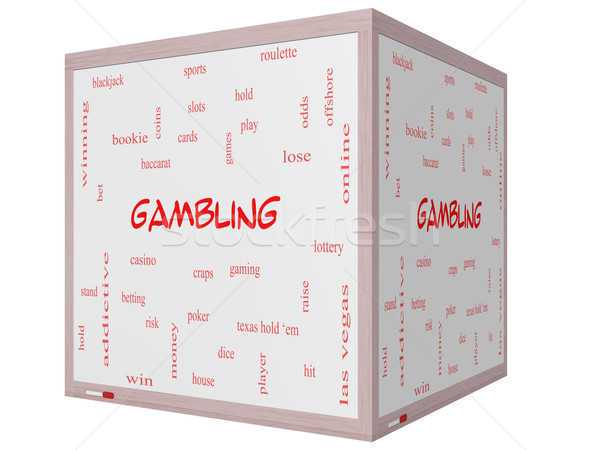 Gambling Word Cloud Concept on a 3D cube Whiteboard Stock photo © mybaitshop