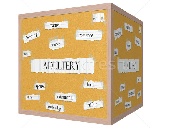 Adultery 3D cube Corkboard Word Concept Stock photo © mybaitshop