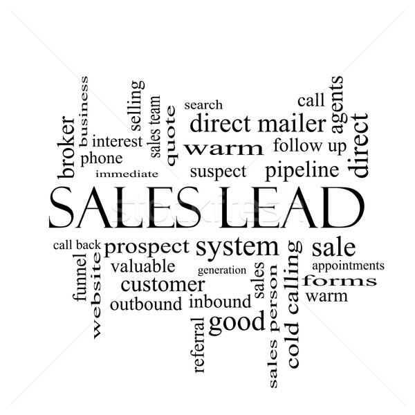 Sales Lead Word Cloud Concept in black and white Stock photo © mybaitshop