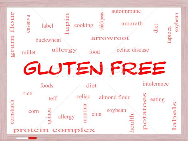 Glutenvrij woordwolk groot voedsel allergie Stockfoto © mybaitshop