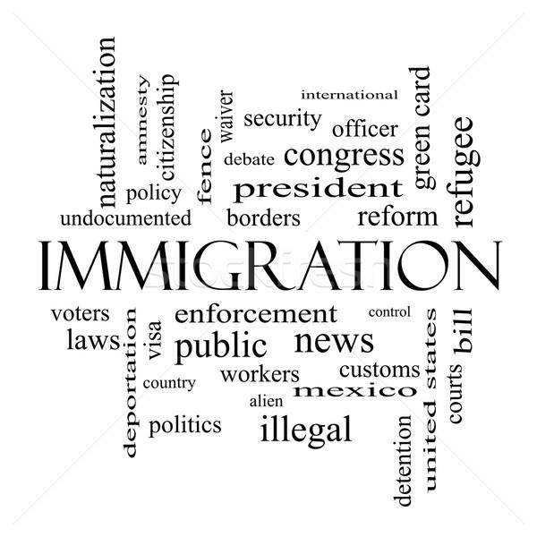 Einwanderung Wort-Wolke schwarz weiß groß Reform Grenzen Stock foto © mybaitshop