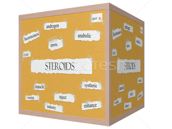 Steroids 3D cube Corkboard Word Concept Stock photo © mybaitshop