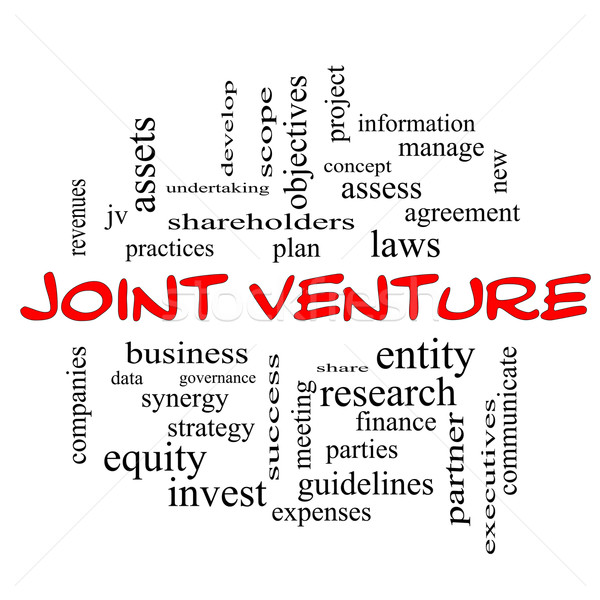 Joint Venture Word Cloud Concept in red caps Stock photo © mybaitshop