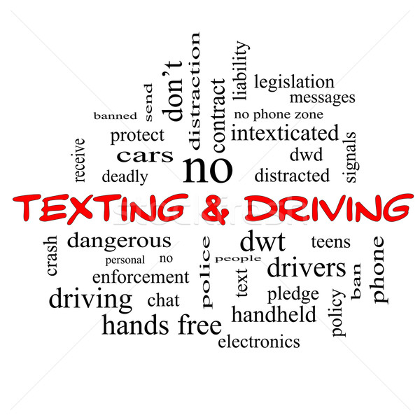 Texting and Driving Word Cloud Concept in red caps Stock photo © mybaitshop