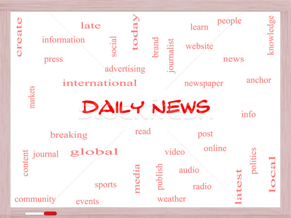 Daily News Word Cloud Concept on a Whiteboard Stock photo © mybaitshop
