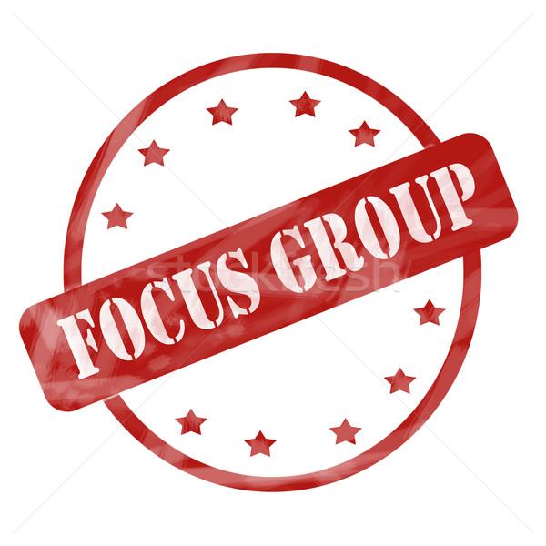 Rosso intemperie focus group timbro cerchio stelle Foto d'archivio © mybaitshop