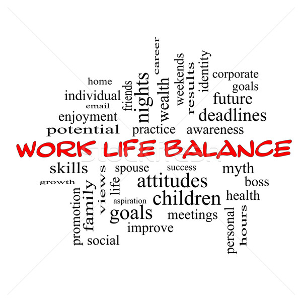 Work Life Balance Word Cloud Concept in red caps Stock photo © mybaitshop