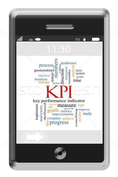 KPI Word Cloud Concept on a Touchscreen Phone Stock photo © mybaitshop