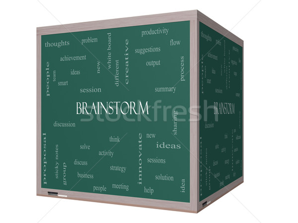 Brainstorm Word Cloud Concept on a 3D cube Blackboard Stock photo © mybaitshop