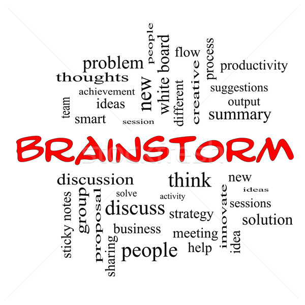 Brainstorm Word Cloud Concept in red caps Stock photo © mybaitshop