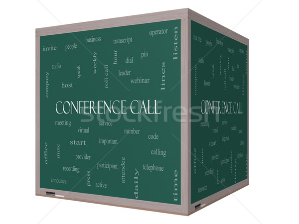 Conference Call Word Cloud Concept on a 3D cube Blackboard Stock photo © mybaitshop