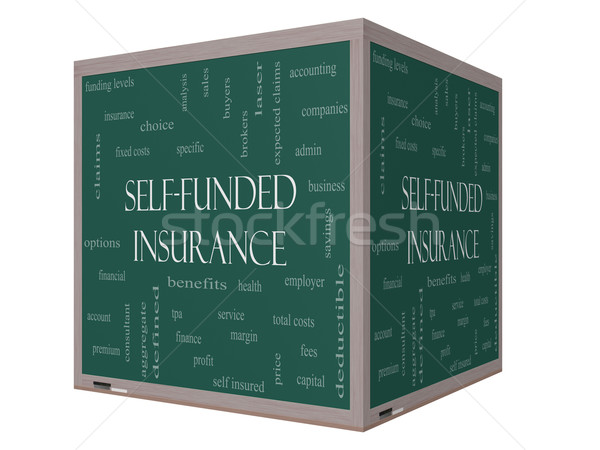 Self Funded Insurance 3D Word Cloud on a Blackboard Stock photo © mybaitshop