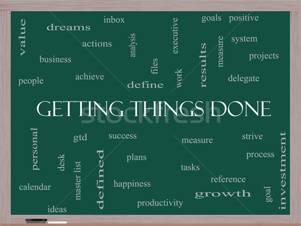 Getting Things Done Word Cloud Concept on a Blackboard Stock photo © mybaitshop