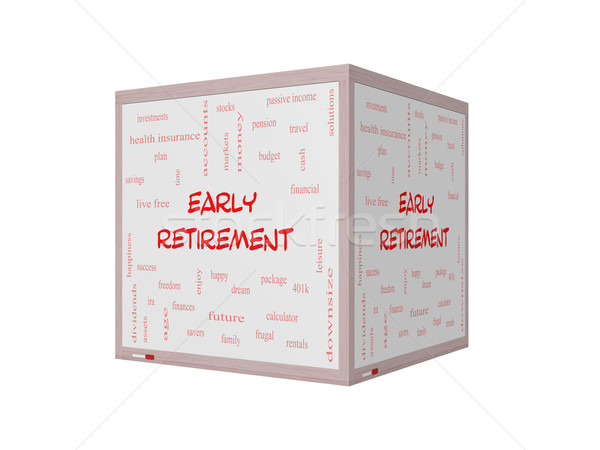 Early Retirement Word Cloud Concept on a 3D Whiteboard Stock photo © mybaitshop