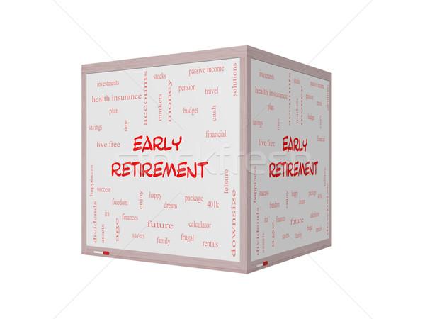 Korai nyugdíj szófelhő 3D tábla nagyszerű Stock fotó © mybaitshop