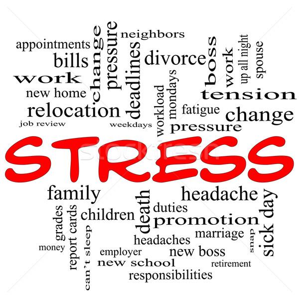 Foto stock: Estresse · nuvem · da · palavra · vermelho · em · torno · de · palavra