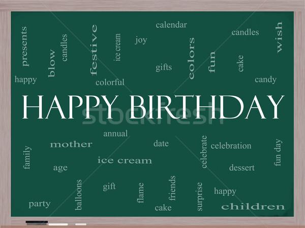 Stockfoto: Gelukkige · verjaardag · woordwolk · Blackboard · groot · presenteert · cake