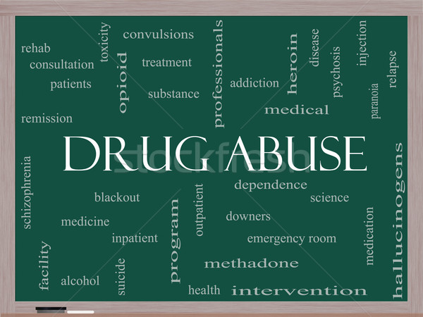 Drug Abuse Word Cloud Concept on a Blackboard Stock photo © mybaitshop