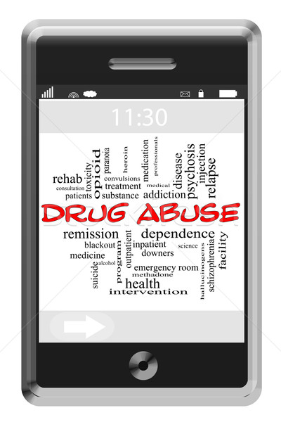 Drug Abuse Word Cloud Concept on Touchscreen Phone Stock photo © mybaitshop