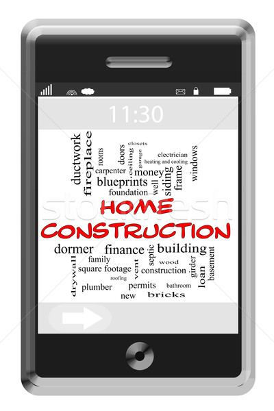 Home Construction Word Cloud Concept on Touchscreen Phone Stock photo © mybaitshop