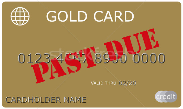 Stock photo: Past Due Gold Credit Card