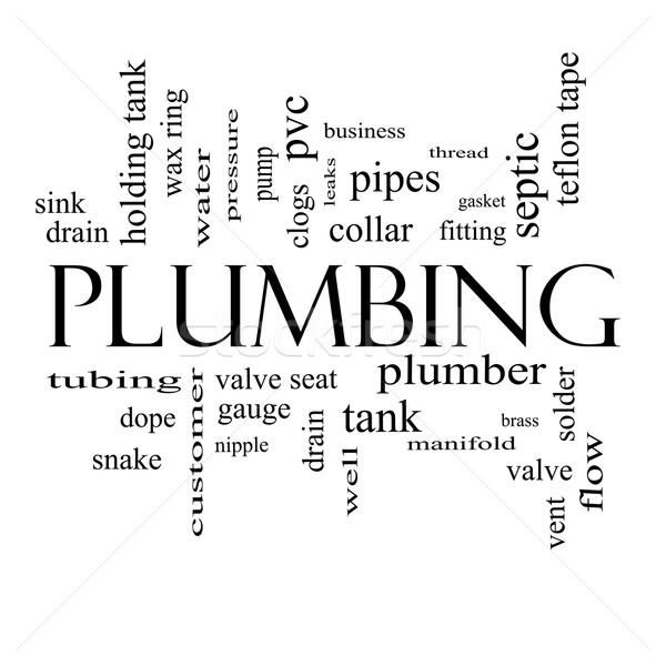 Plumbing Word Cloud Concept in black and white Stock photo © mybaitshop