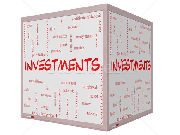 Investissements nuage de mots 3D cube magnifique Photo stock © mybaitshop