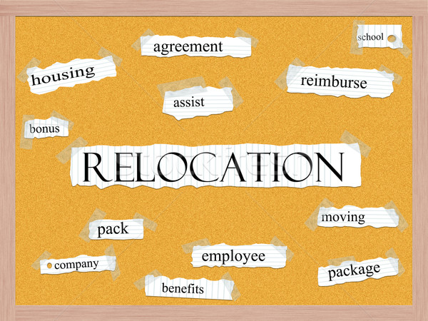 Relocation Corkboard Word Concept Stock photo © mybaitshop