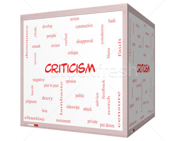 Criticism Word Cloud Concept on a 3D cube Whiteboard Stock photo © mybaitshop