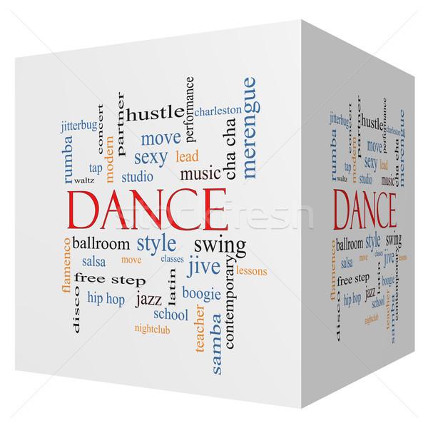 Dans 3D küp kelime bulutu muhteşem müzik Stok fotoğraf © mybaitshop