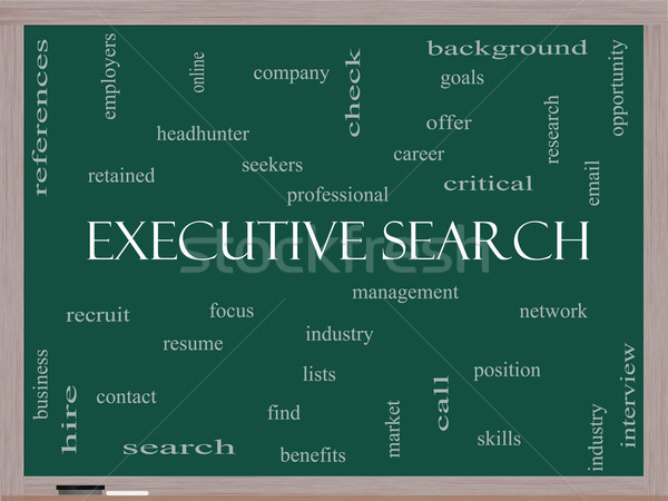 Executive Search Word Cloud Concept on a Blackboard Stock photo © mybaitshop