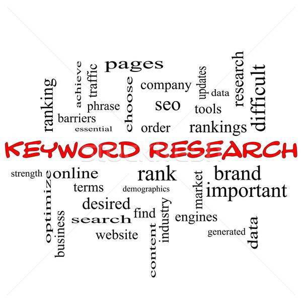 Palabra clave investigación nube de palabras rojo para Foto stock © mybaitshop